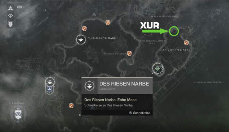 Destiny 2 Xur Position