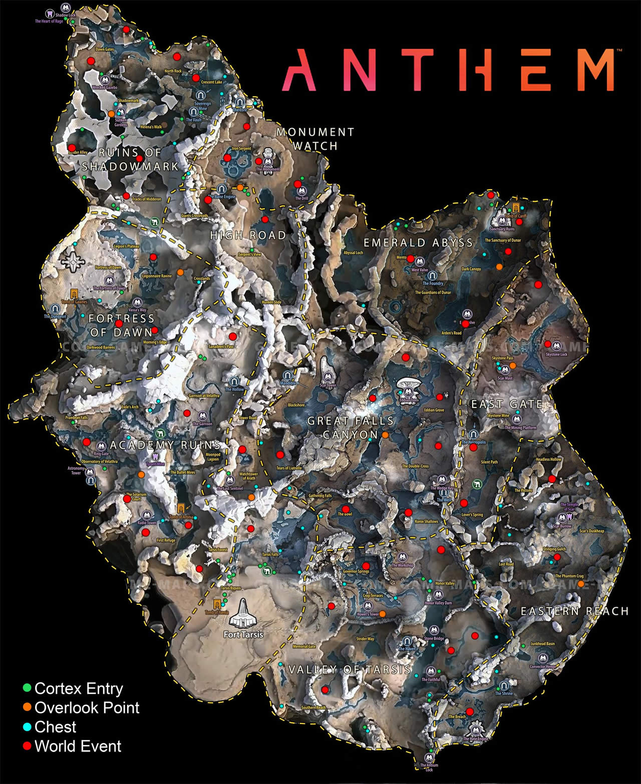 Anthem World Map Collectibles