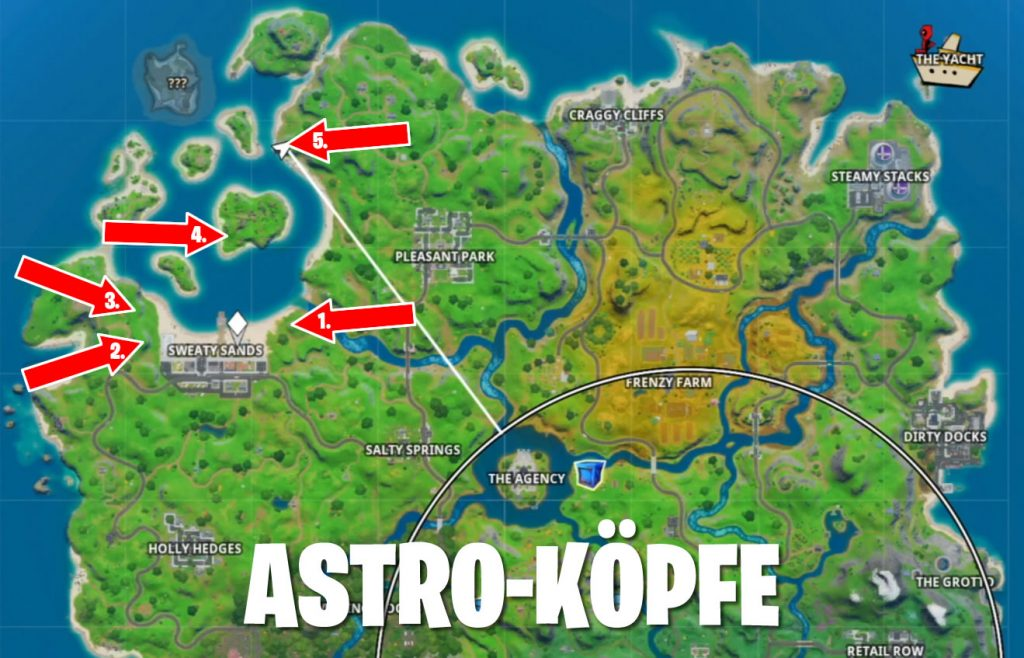 Fortnite Astro-Köpfe Fundorte