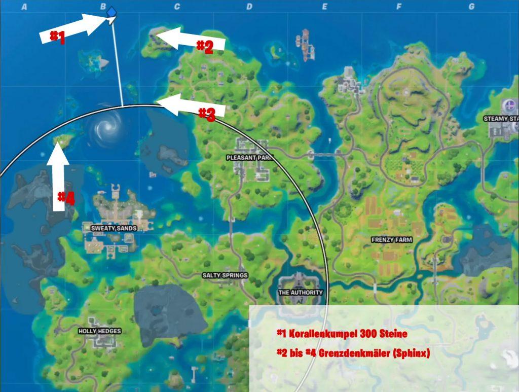 Korallenkumpel und Denkmäler Map Fortnite