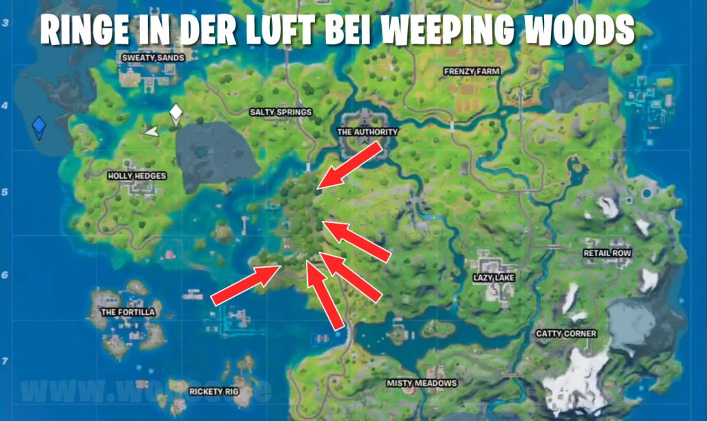 Ringe bei Weeping Woods Map