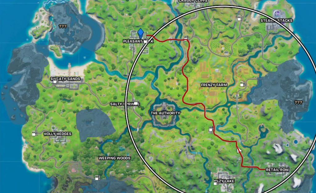 Fortnite Fahre nach Pleasant Park Strecke Map