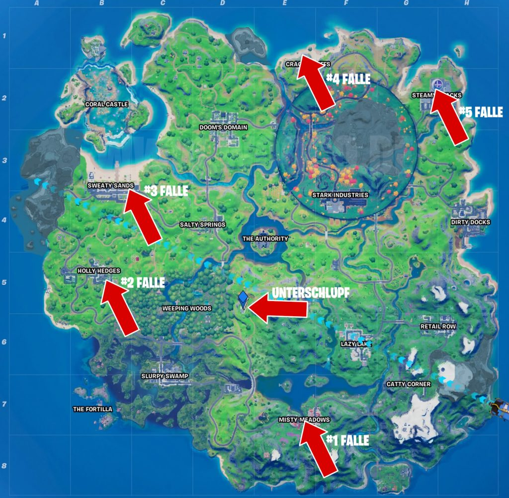 Fortnite Fallen Fundorte Map