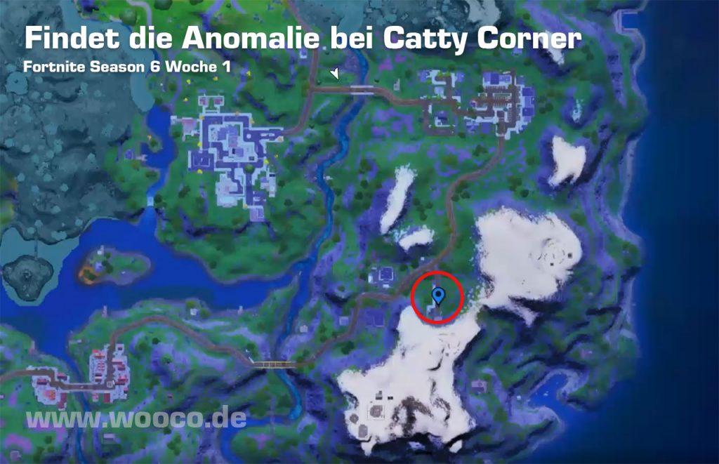 Fortnite Anomalie bei Catty Corner Map