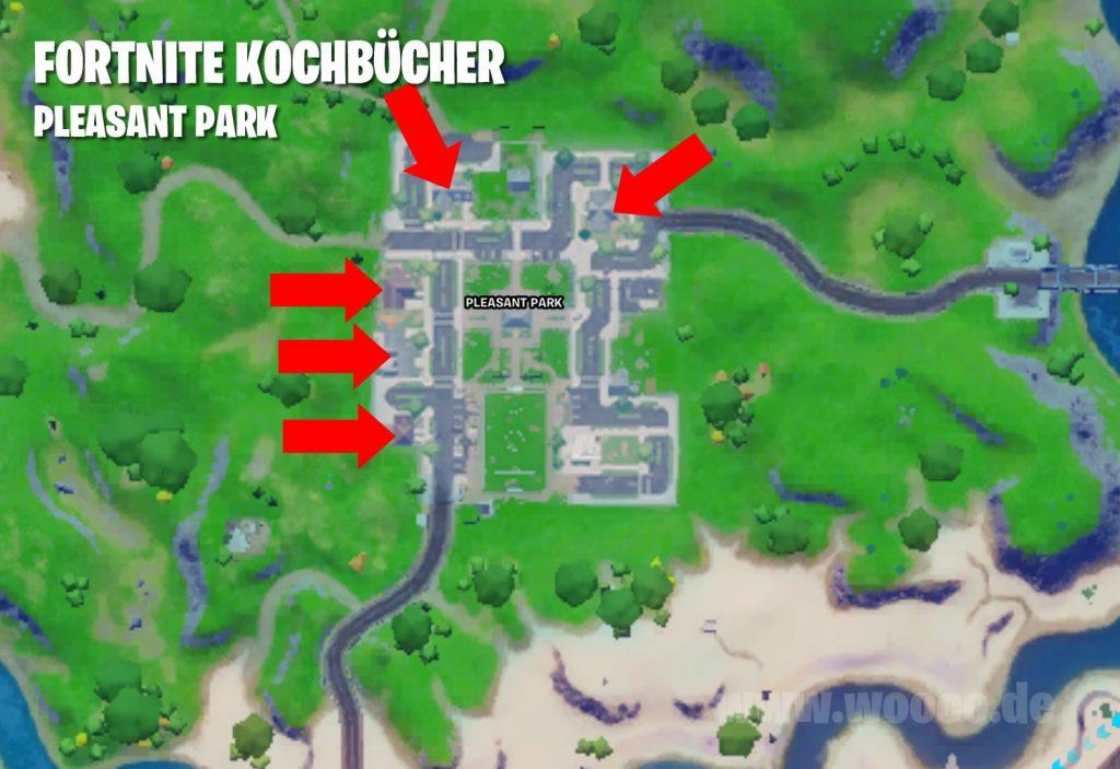 Fortnite Kochbücher Pleasant Park Map