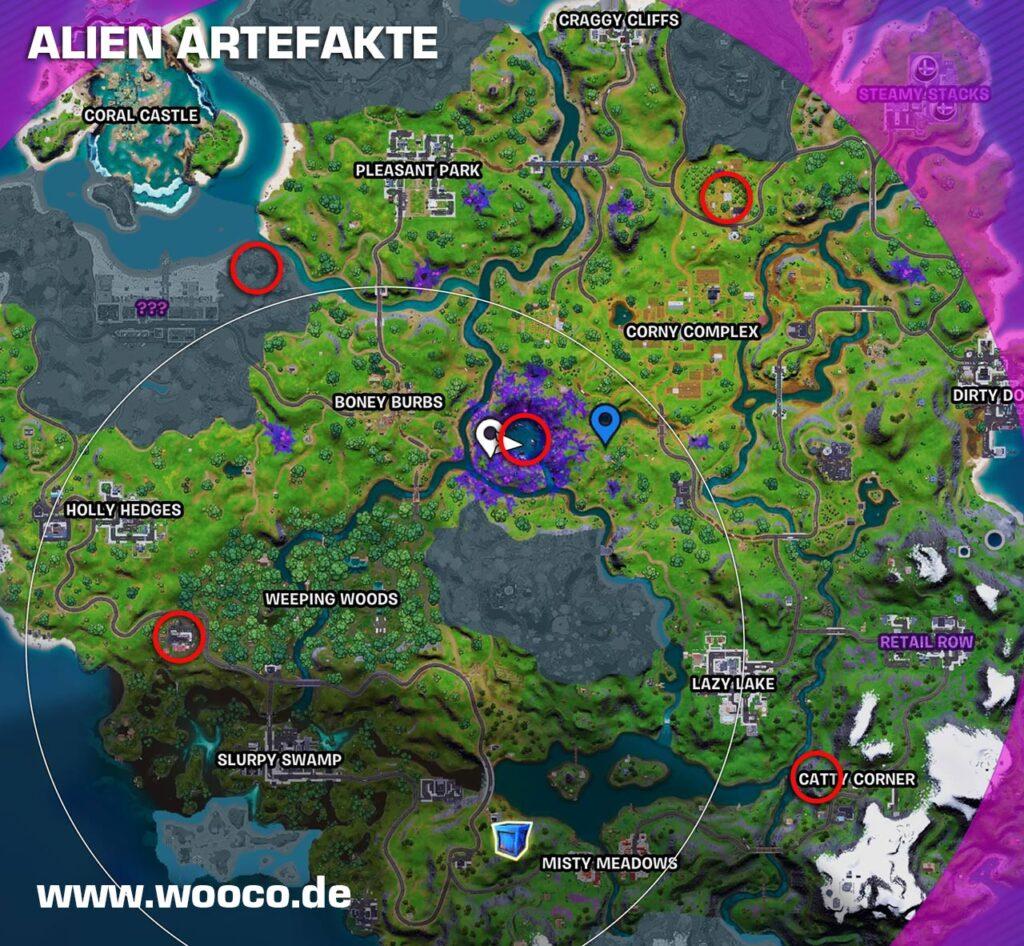 Alien Artefakte Fortnite Map