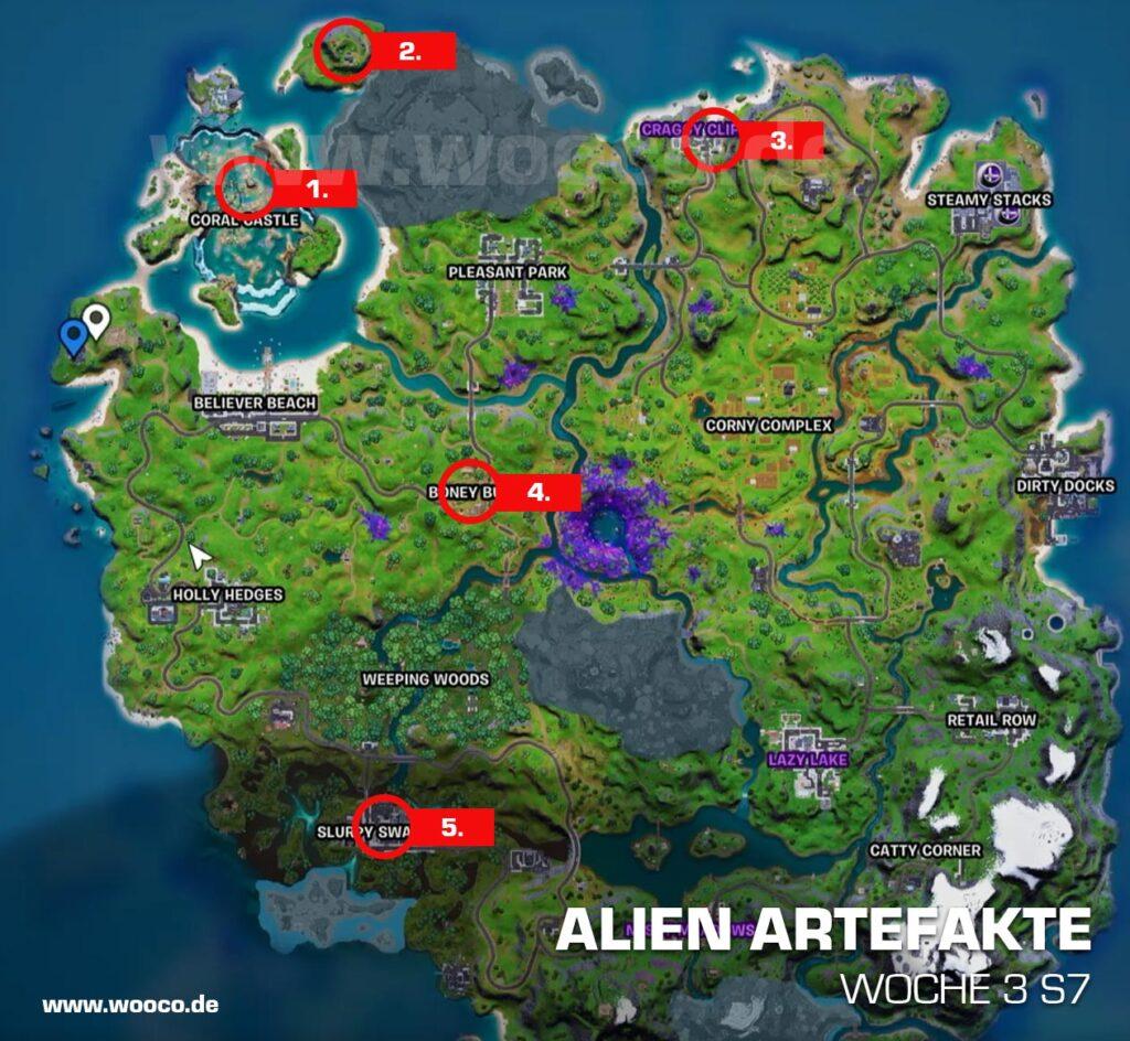 Alien Artefakte Woche 3 Fortnite Map