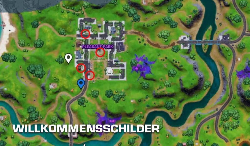 Willkommensschilder Fortnite Map