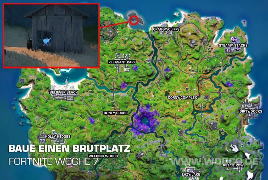 Baue einen Brutplatz auf der Fortnite Map