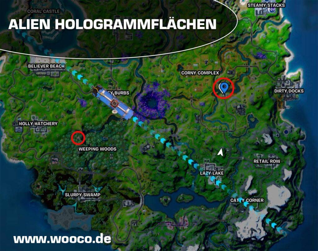 Fortnite Alien Hologrammflächen Map