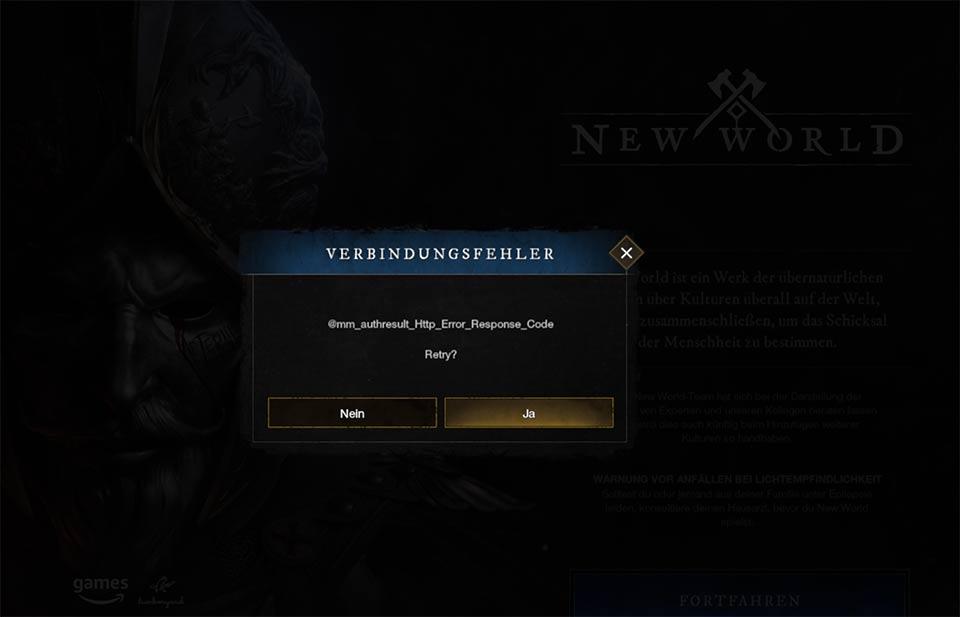 New World Login Error